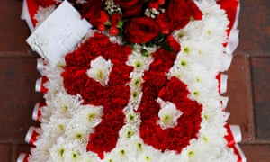 A wreath laid in honour of the 96 victims of the Hillsborough disaster.