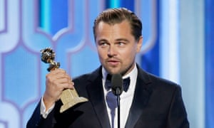 Leonardo DiCaprio accepts the award for best actor - motion picture, drama for The Revenant.