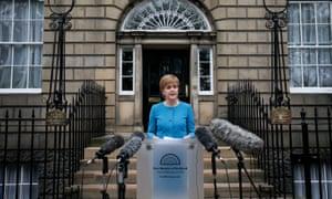 Nicola Sturgeon speaking to the media on Saturday.
