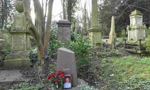 Alexander Litvinenko's grave in Highgate cemetery, London.