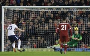 Karius saves the penalty.