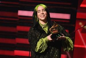 Billie Eilish accepts the award for best Best New Artist.