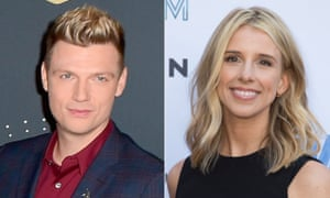 Nick Carter, left, and singer-actor Melissa Schuman, who has accused the Backstreet Boys member of rape.