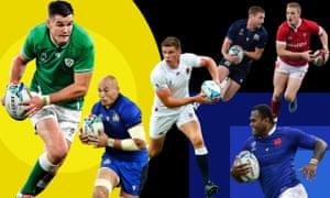 Six of the best: Johnny Sexton, Sergio Parisse, Owen Farrell, Finn Russell, Johnny McNicholl and Virimi Vakatawa.