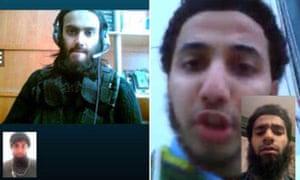 来自Skype的Ifthekar Jaman和Rahman(左)以及Aseel Muthana和Forhad Rahman(右)的屏幕截图。