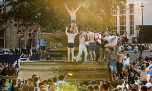 England fans celebrate in Trafalgar Square.
