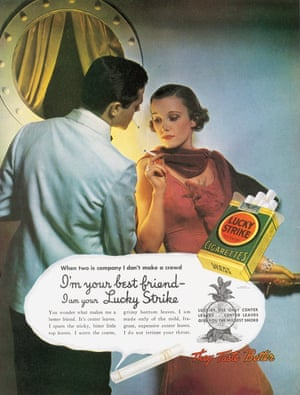 Lucky Strike used celebrities in their campaigns and claimed their cigarettes irritated the throat less than other cigarettes, such as this 1935 ad