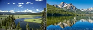 Yellowstone (left) and Stanley, Idaho.