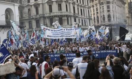 People participate in the 'Marcha de la Resistencia' (March of the Resistance), which was organized by Plaza de Mayo Mothers Foundation, in downtown Buenos Aires last week.