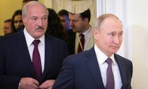Alexander Lukashenko with Vladimir Putin in 2019 in Saint Petersburg, Russia.