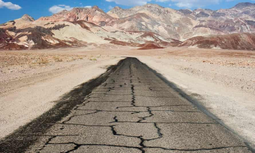 A remote, desert road in Death Valley national park, California.