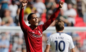 Tottenham Hotspur v Liverpool<br>Virgil van Dijk celebrates on the final whistle during the Tottenham Hotspur v Liverpool F.A. Premier League match at Wembley Stadium on September 15th 2018 in London (Photo by Tom Jenkins)