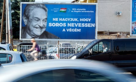 A poster with George Soros