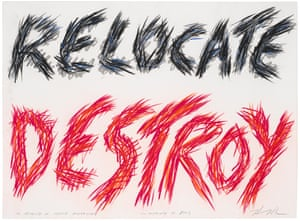 Edgar Heap of Birds (b. 1954), Relocate Destroy, In Memory of Native Americans, In Memory of Jews, 1987