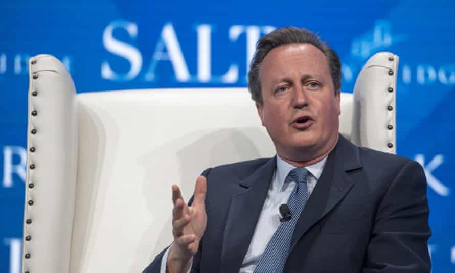 David Cameron speaking at the SALT conference in Las Vegas, May 2017.