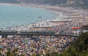 Crowds on Bournemouth beach