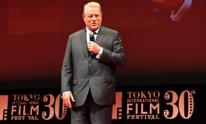 """Former US vice president Al Gore delivers his speech during the closing ceremony of the Tokyo International Film Festival in Tokyo on November 3, 2017. Gore's latest movie, """"An Inconvenient Sequel: Truth to Power"""" was chosen as the closing film at the film festival."""