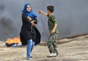 Wesal Sheikh Khalil during a peaceful demonstration on the Gaza border - she was shot dead on Monday 14 May.