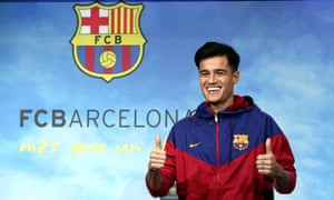 Philippe Coutinho is unveiled as a Barcelona player.
