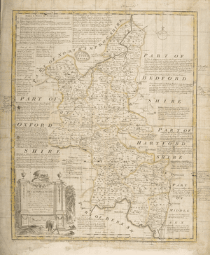 Buckinghamshire, 1764Bowen and Kitchin's error-strewn 1764 Bucks map was based on maps which were by then two centuries old. Its inaccuracies evidently displeased this copy's owner, a Mr R. Walsh of London, who over a description 'Ackney Way' has written 'They mean Ickley Way, vulgo Asckley Way'. To which he might have added, 'the dimwits'.