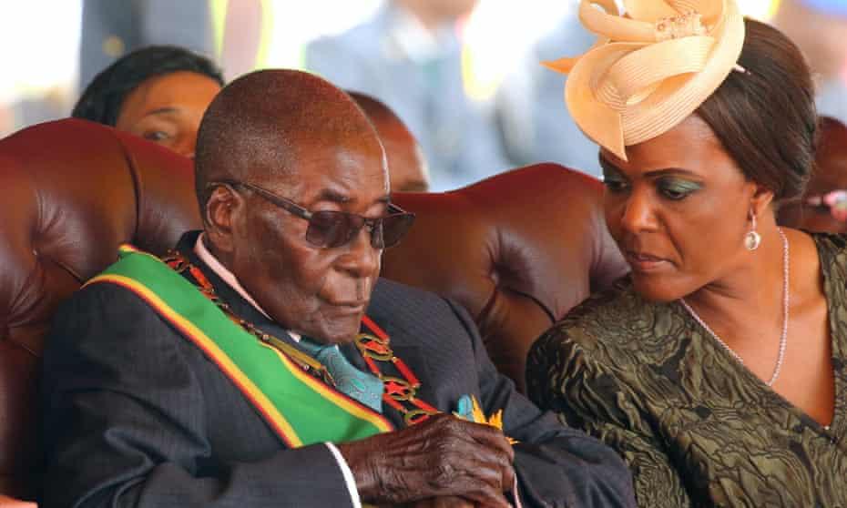 The president of Zimbabwe, Robert Mugabe, with his wife, Grace.