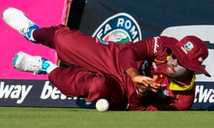 Shimron Hetmyer of West Indies fields on the boundary.