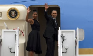 President Obama and first lady Michelle Obama set off on Air Force One for their summer holiday at Martha's Vineyard.