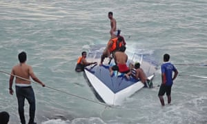 Rescue teams search for survivors after the Aang Thong Explorer capsized.