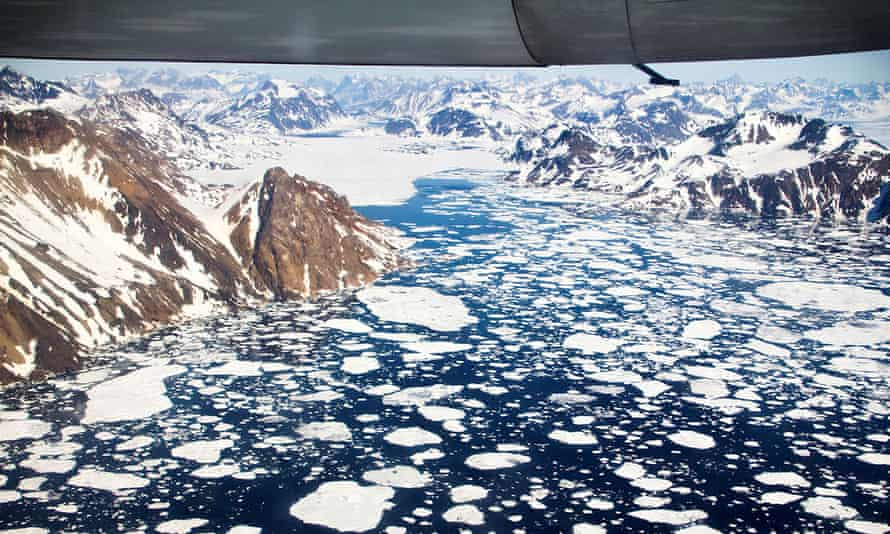 Icebergs off the south-east coast of Greenland, a region that is exhibiting an accelerated rate of ice loss.