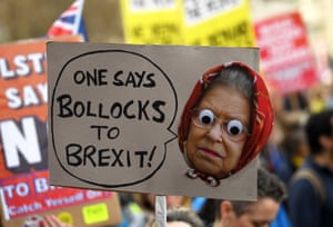 A banner with a a picture of the Queen saying: 'One says bollocks to Brexit'