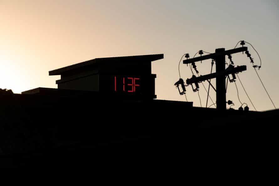 A thermometer reads 113F during a heat wave in Portland, Oregon.