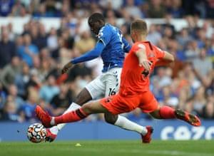 Everton's Abdoulaye Doucoure scores their second goal.