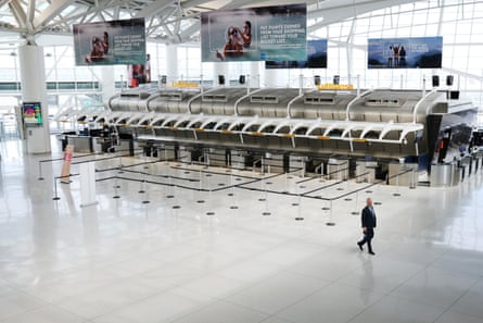 inside and empty JFK airport in New York in April 2020.