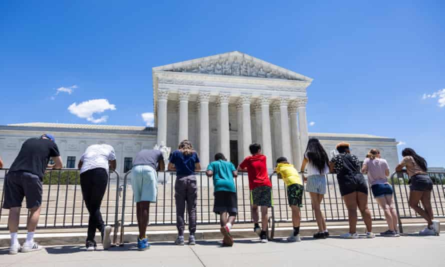 Anti-abortion protesters gather outside the US supreme court in Washington last month.