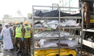 The bodies of Muslim pilgrims after a stampede at Mina, outside the holy Muslim city of Mecca, on 24 September, 2015.