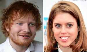 a composite photo of Ed Sheeran and Princess Beatrice
