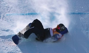 Aimee Fuller of Britain takes a tumble in the women's slopestyle finals.