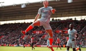 Chelsea's Ross Barkley celebrates scoring the team's second goal.