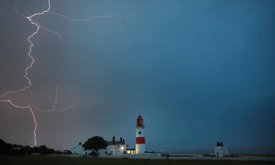 Lightning flashes over Souter lighthouse in South Shields on Friday