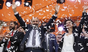 Nikol Pashinyan celebrates with wife Anna Akopyan after being elected Armenia's prime minister.