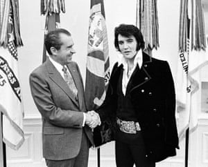 Presley with the president: shaking hands with Richard Nixon at the White House on 21 December 1970