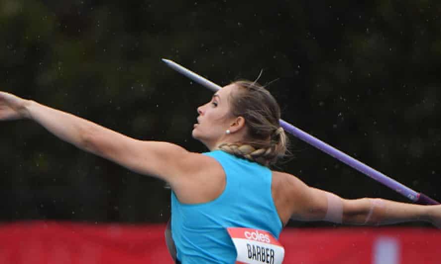 Kelsey-Lee Barber throwing a javelin