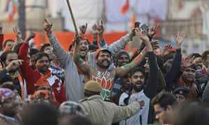 Bharatiya Janata Party's supporters shout slogans during a campaign rally ahead of Delhi state elections
