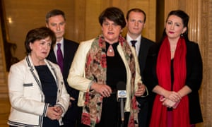 DUP leader Arlene Foster (centre) with party colleagues after talks at Stormont House.