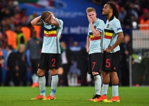 Toby Alderweireld, Kevin De Bruyne and Jan Vertonghen look dejected after going out to Wales at Stade Pierre-Mauroy on July 1st 2016 in Lille, France.