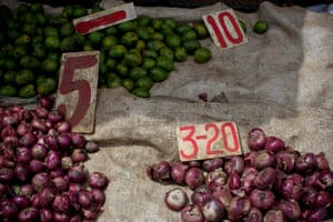 Onions and limes on a roadside market stall