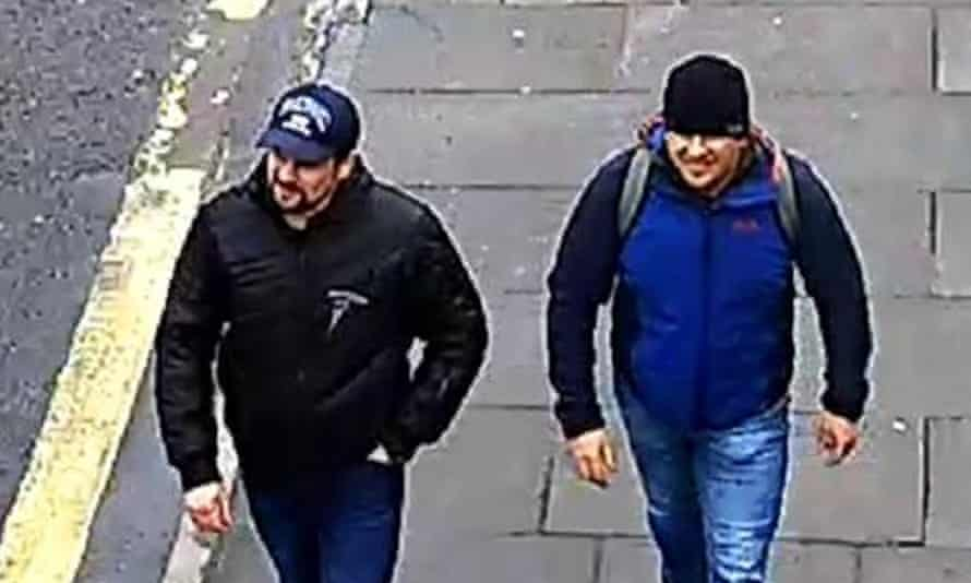 The Novichok poisoning suspects Alexander Petrov and Ruslan Boshirov, on 4 March 2018 in Salisbury.