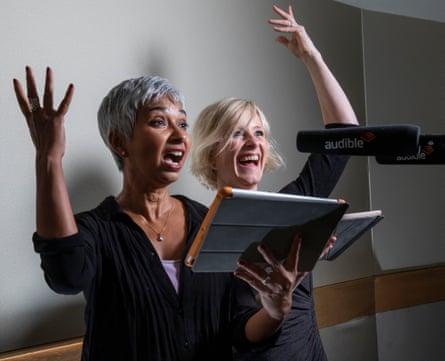 Actors and narrators Tania Rodrigues (left) and Clare Corbett at the Audible audiobook studios