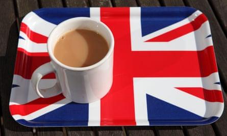 A mug of hot tea is served on a Union Jack tray