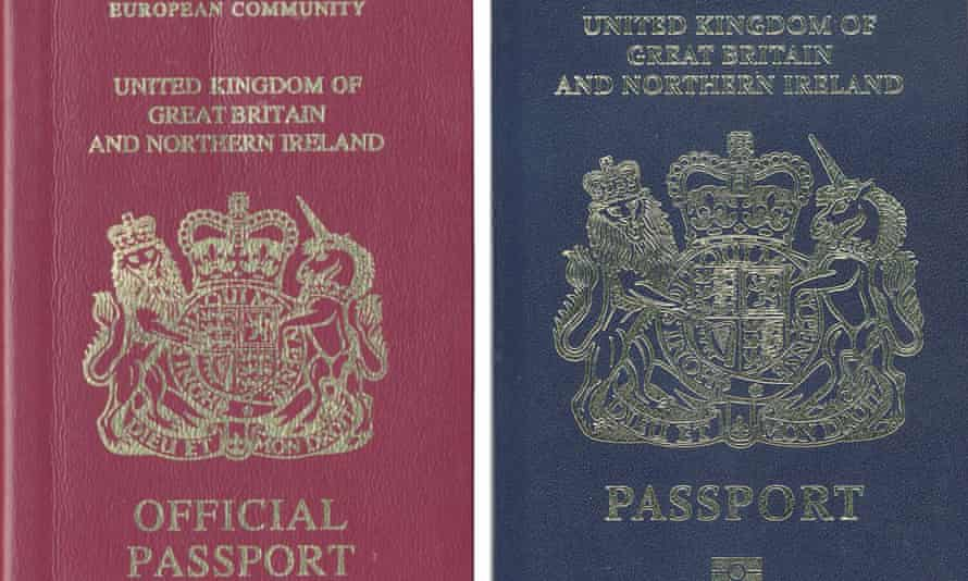 The current red and proposed blue UK passport.